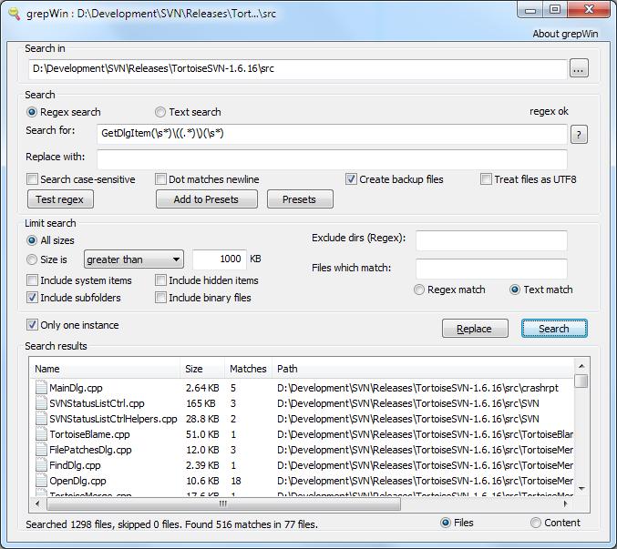 grepWin 1.6.14.673 software screenshot