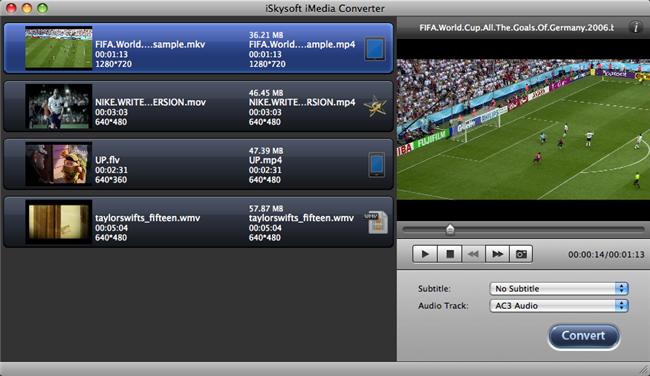 iSkysoft iMedia Converter for Mac 2.0.8 software screenshot