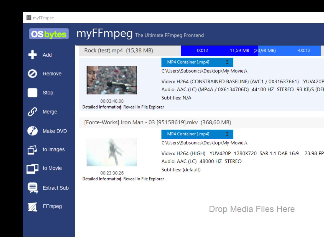 myFFmpeg 3.0.2 software screenshot